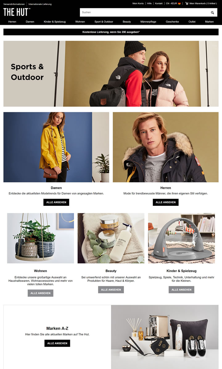 The Hut DE: UK's Leading Luxury Online Department Store