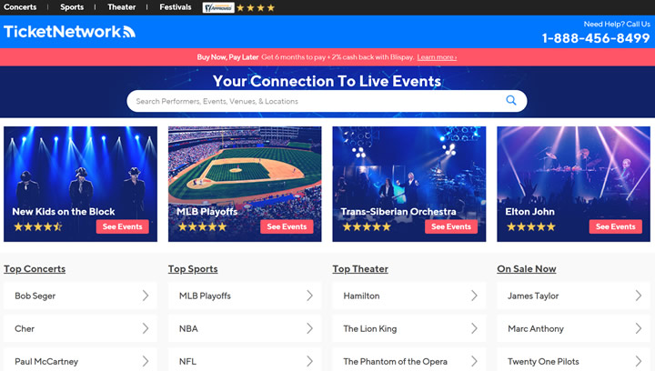 Concert Tickets, Sports Tickets and Theater Tickets: Ticketnetwork